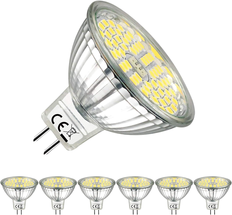 EACLL Bombillas LED GU5.3 6000K Blanco Frío Sin Parpadeo MR16 12V 5W 500 Lúmenes Equivalente 50W Halógena. 120 ° Luz Diurna Blanca Fría Lámpara Reflectoras Spotlight, Pack de 6
