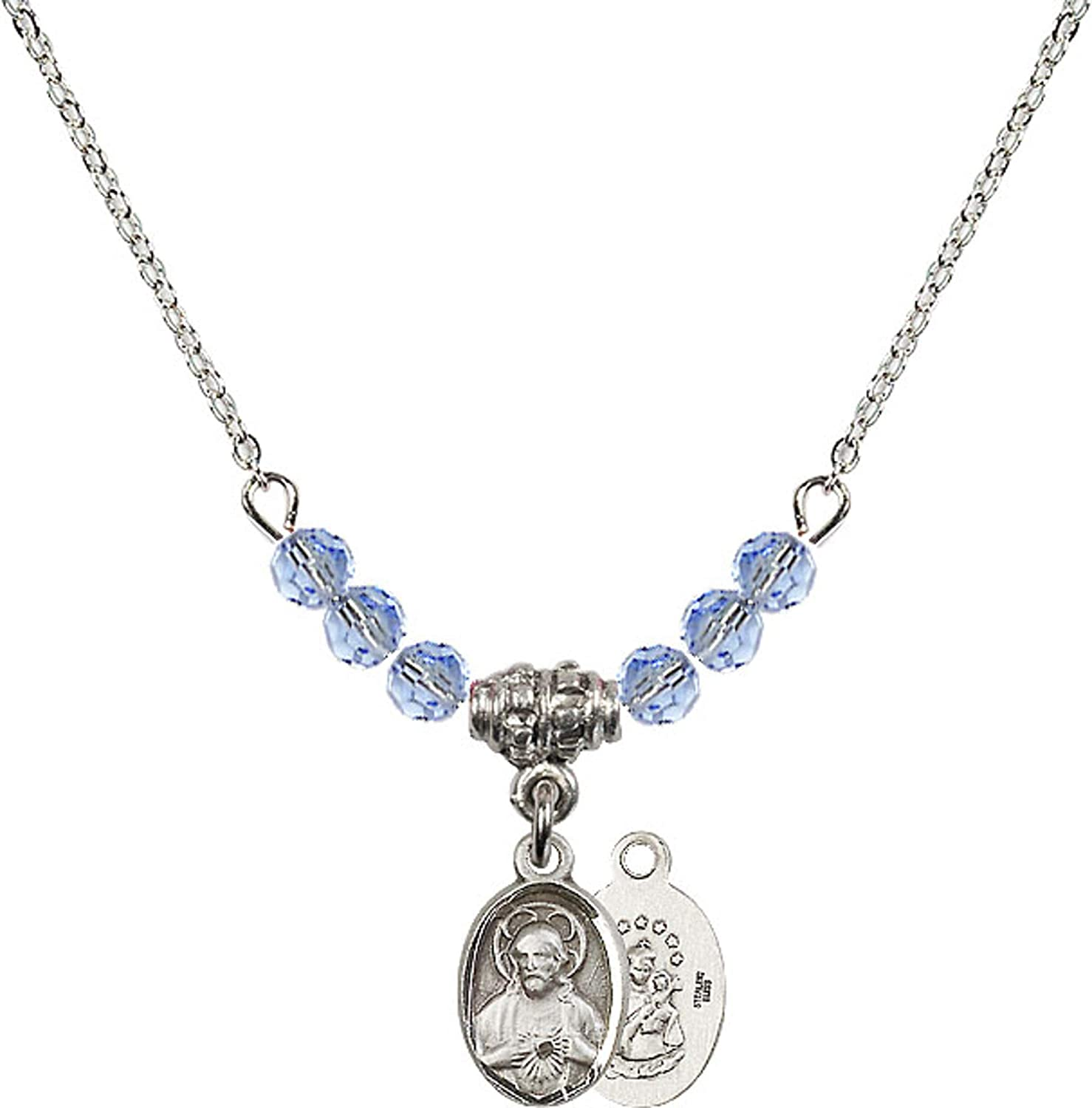 Bonyak Jewelry 18 Inch Rhodium Plated Necklace w// 4mm Light Blue September Birth Month Stone Beads and Scapular Charm