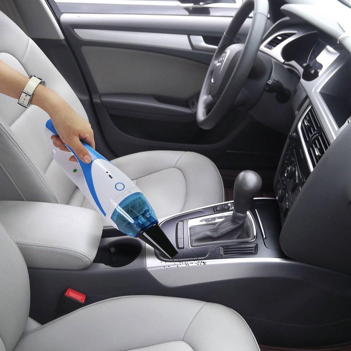 bleu voiture aspirateur sans sac grande force daspiration Aspirateur /à Main Batterie avec jusqu/à 25 minutes dautonomie 1500 PA Mini rangement Aspirateur