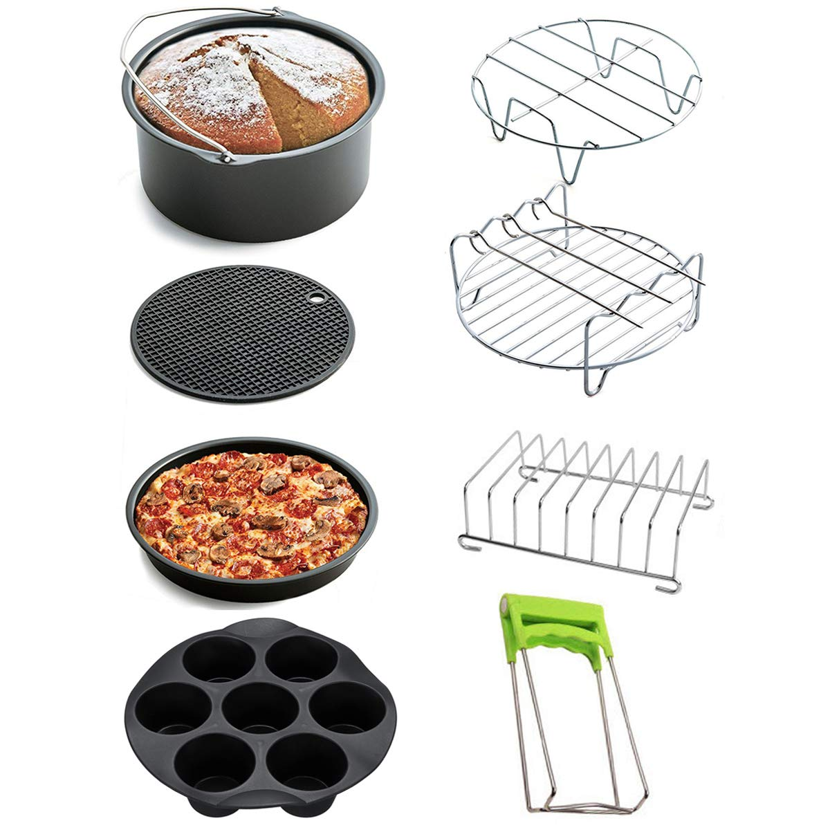 8 inch, 10 pcs Pizza Pan Dish Plate Clip Cake Barrel Bread Shelt Cupcake Pan Moonter 8 inch 5.2QT-5.8QT Air Fryer Accessories with Silicone Mat Steel Skewer Rack Steel Metal Holder
