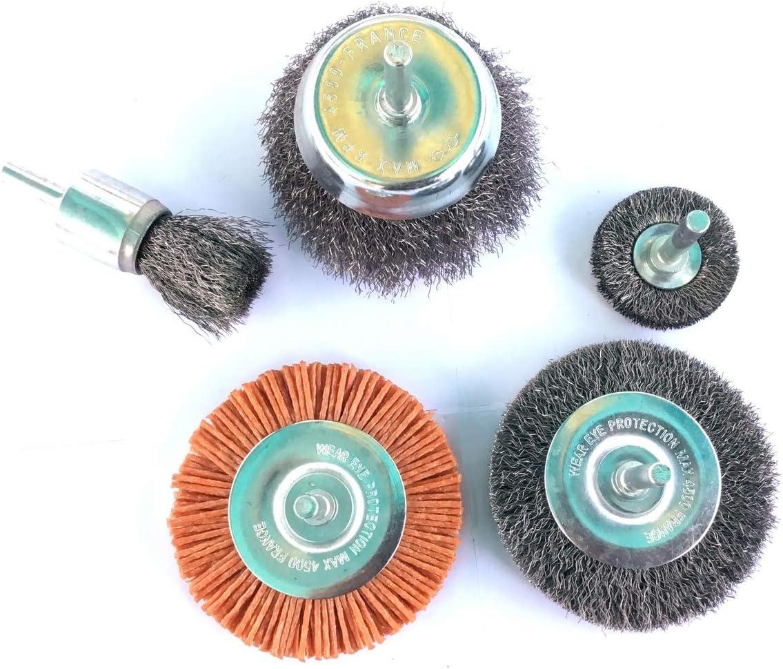 Kibros 5lot2 Lot De 5 Brosses Circulaires Tige Souple