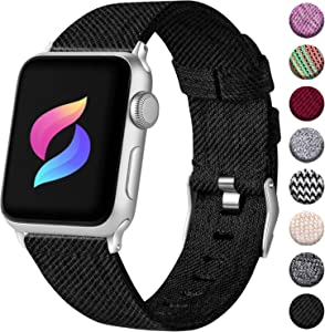 Haveda Fabric Compatible for Apple Watch Series 6 Series 5/4 40mm Band, Soft Wristband for Apple watch SE, iwatch bands 40mm womens, Sport cloth dressy for Apple Watch 38mm Series 3 2/1 (Black)