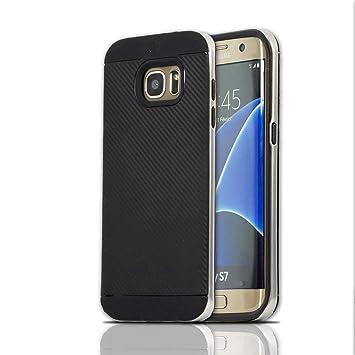 Lincivius Funda Samsung S7, Fundas Galaxy S7 Carcasa [Carbon Tweel Bumper] Case Silicona Effecto Carbono Anti Golpes Cover con Conturno Rigido - Plata ...