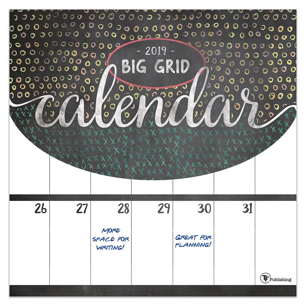 Time Factory Big Grid - Chalk 12'' x 12'' January -December 2019 Wall Calendar (19-1060)