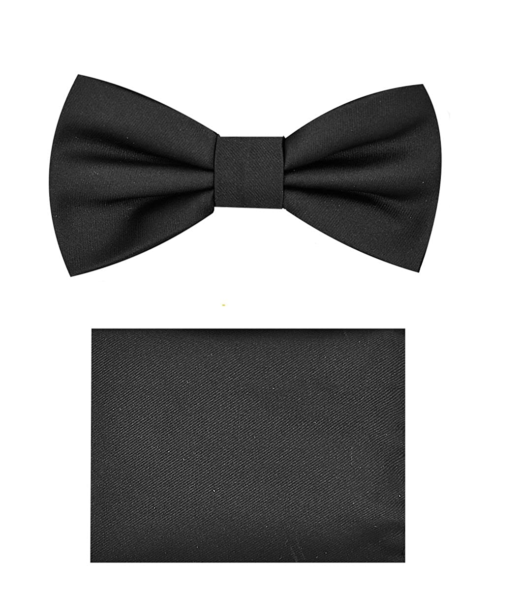 3fb9d42e3d9a2 Amazon.com: Boys Bow Tie Handkerchief Set (Black)-B: Clothing