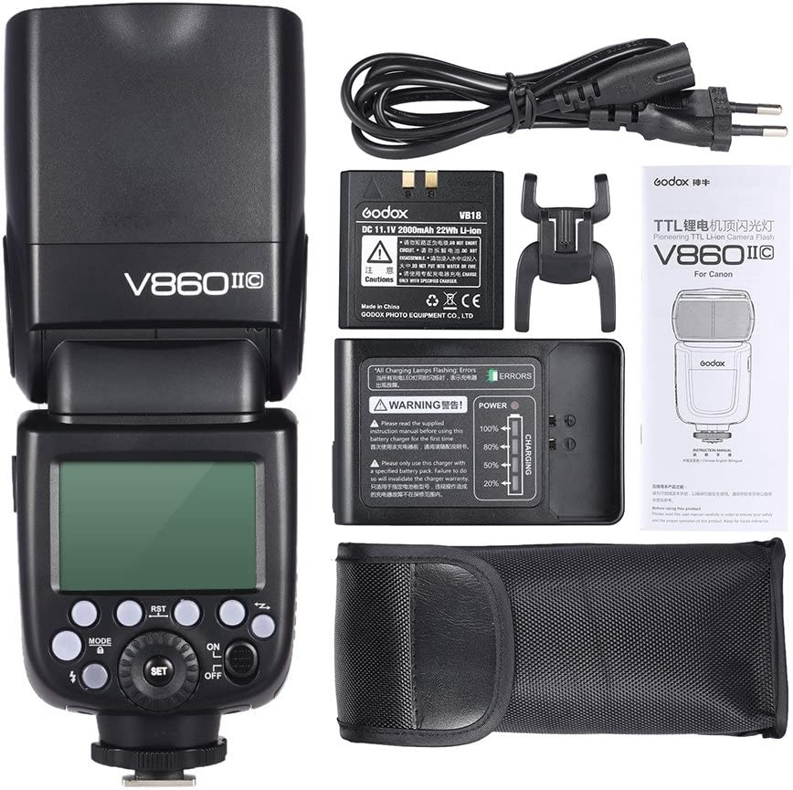 Andoer V860II-C E-TTL 1/8000S HSS Master Slave GN60 Speedlite Flash Built-in 2.4G Wireless X System with 2000mAh Rechargeable Li-ion Battery for Canon 1DX/5D Mark III/5D Mark
