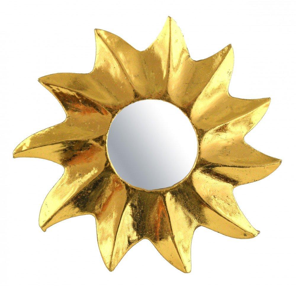 Gold 15 cm 7/Misure Kunsthandwerk Asien Decorazione a Forma di Specchio Golden Sun Legno Decorazione murale