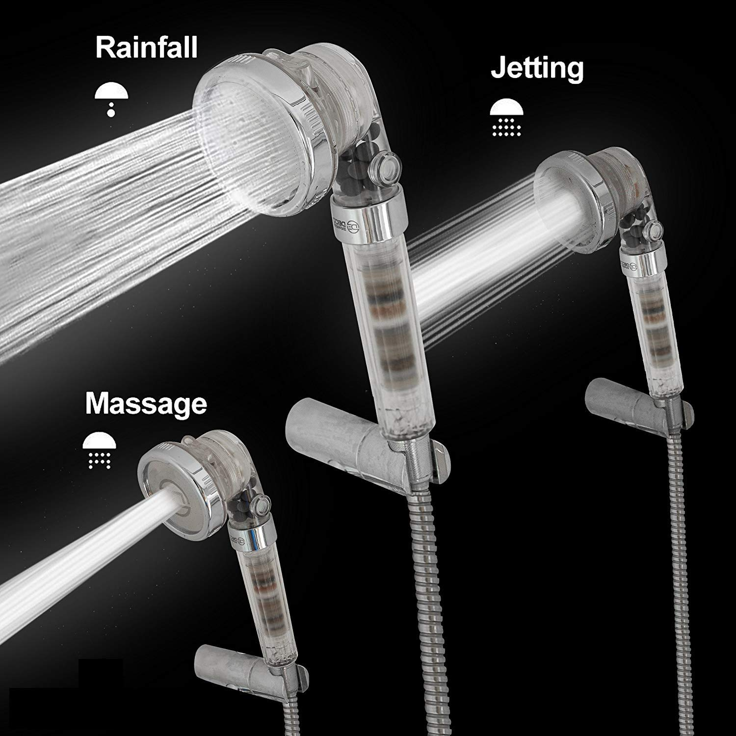 High Pressure Handheld Ionic Filter Shower Head with 3-Way Shower Modes - Pressure Booster & Water Saving – With Negative Ion Spinning Filter that Softens Water and Removes Chlorine – With Magnetic Therapy Function - Sealed Gift Box comes w