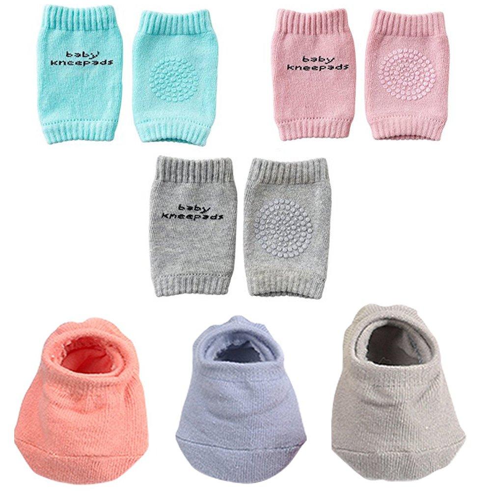 Baby Crawling Anti-Slip Knee and Anti Slip Baby Boys Girls Socks Best Infant Gift, Unisex Baby Toddlers Kneepads 3 Pairs, Soft Cotton Assorted Boys Girls Grip Walkers Socks 3 Pairs
