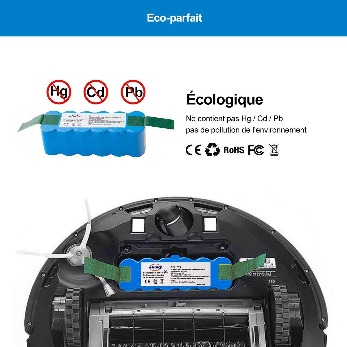 efluky 4.0Ah batería de Repuesto para irobot roomba + Kit cepillos repuestos de Accesorios para iRobot Roomba Serie 600 -un Conjunto DE 11