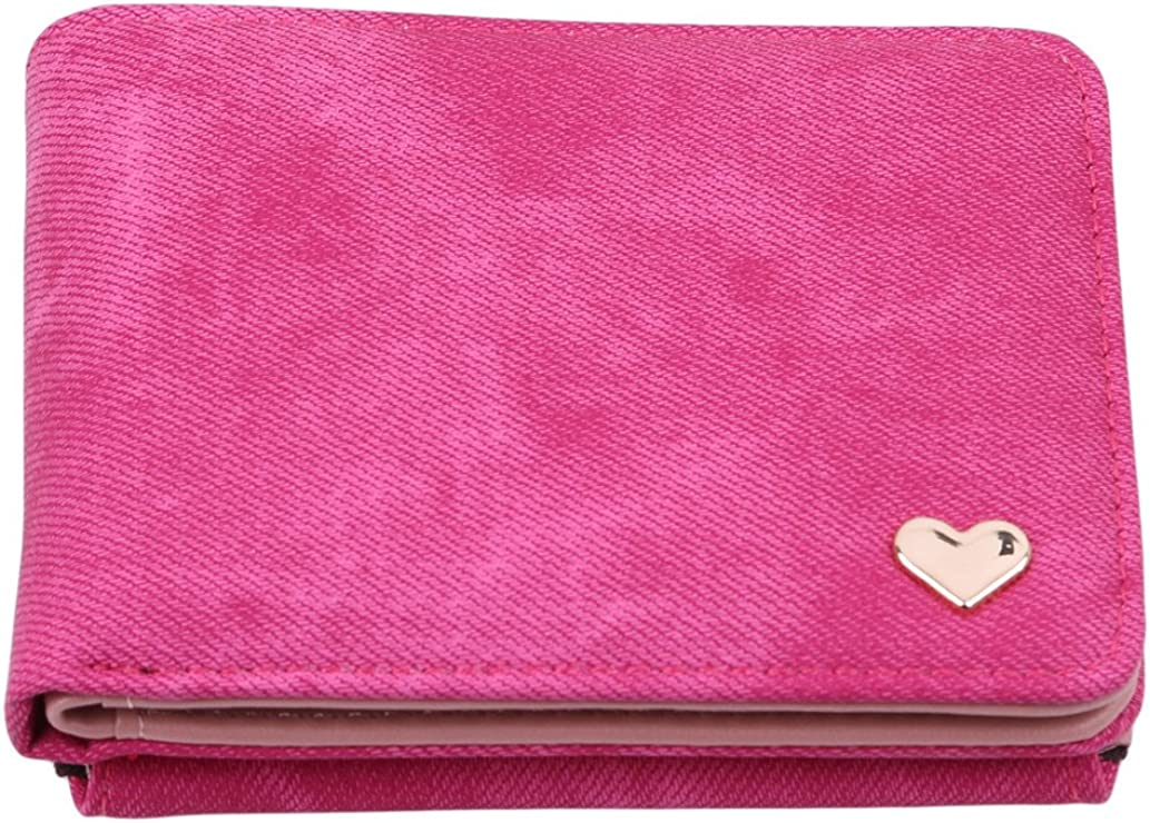 KISSFRIDAY PU Leather Small Love Purse Card Holder Cash Coins Purse Short Lock Wallet for Women or Girls with Rose Red