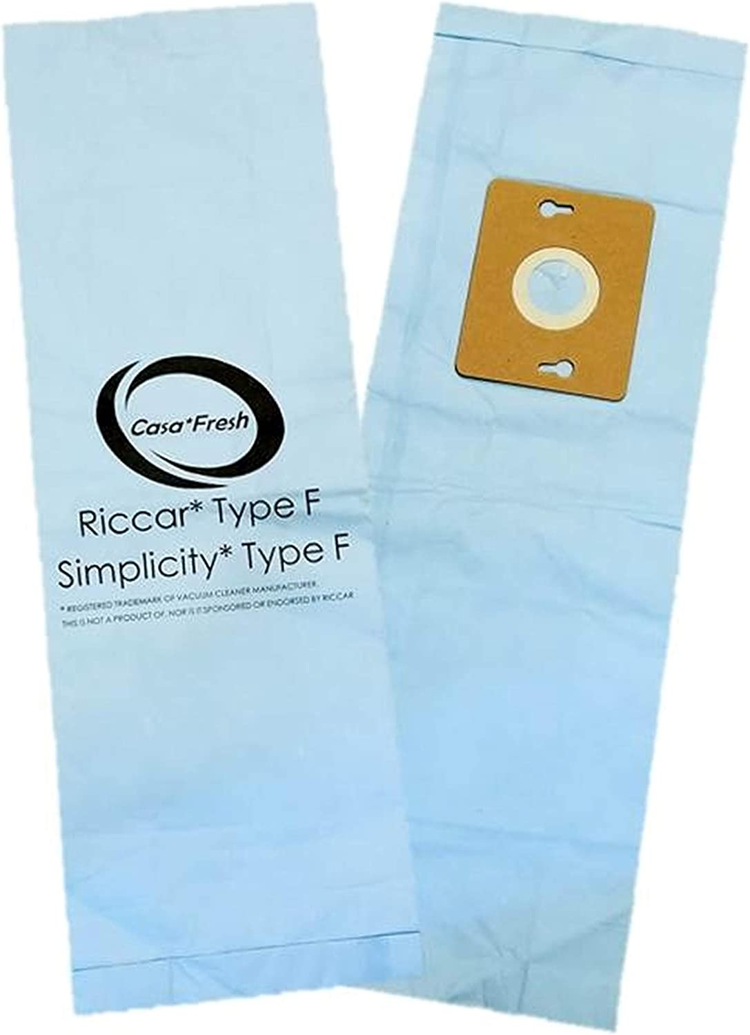 Riccar Casa Fresh 6 PK Replacement Supralite/Simplicity Freedom Type F Ecopure Vacuum Bags