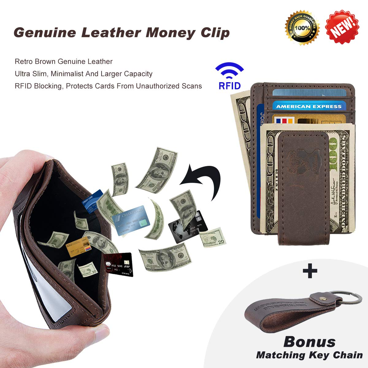 Mens Money Clip Wallet Leather Slim Front Pocket Magnetic Rfid Money Clip Wallet