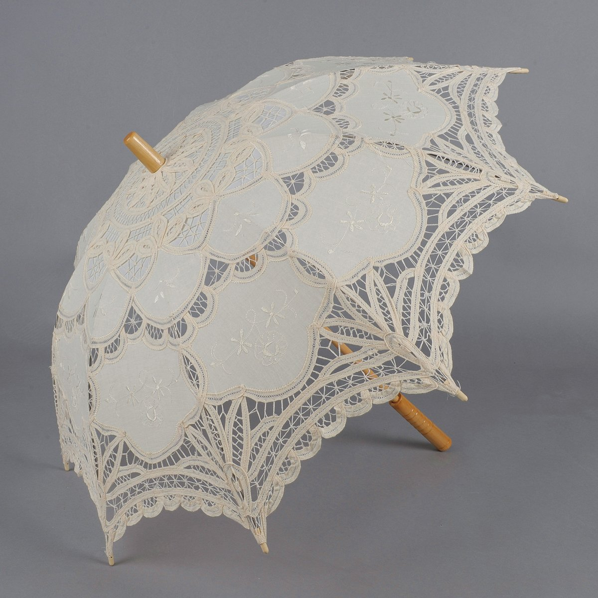 Artwedding Scallop Edge Embroidery Pure Cotton Lace Wedding Umbrella in Beige Onesize by Artwedding (Image #3)