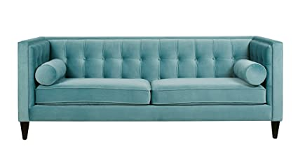Jennifer Taylor Home Jack Collection Modern Hand Tufted Upholstered Sofa  With 2 Bolster Pillows And Hand