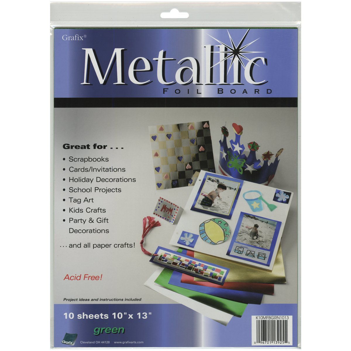 Pack of 25 Grafix Red Metallic Foil Board 20-Inch-by-26-Inch