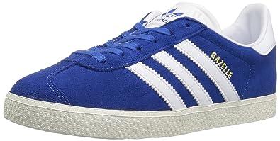 adidas Originals Boys\u0027 Gazelle J Sneaker, Blue/White/Metallic/Gold,