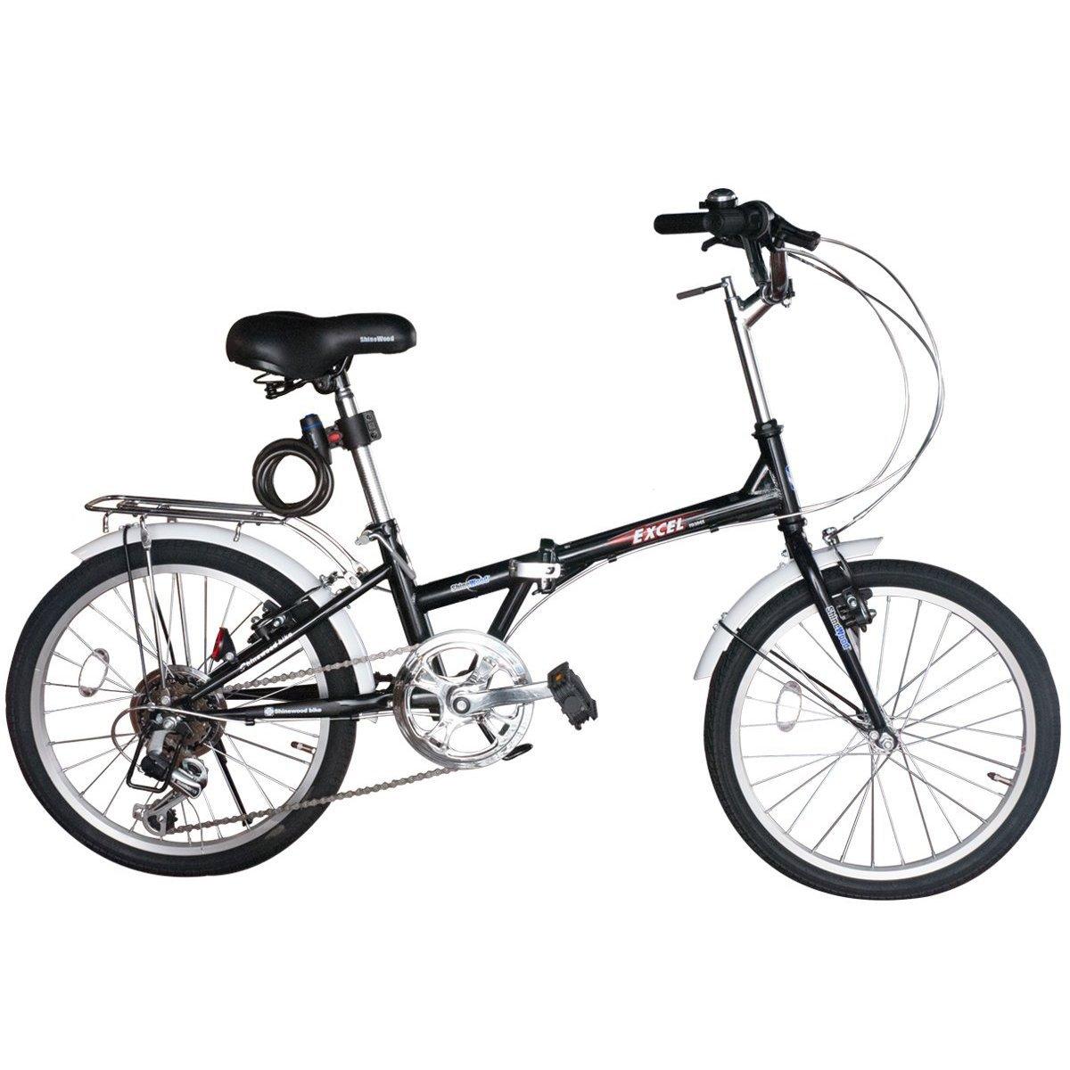 SHINE WOOD(シャインウッド) 折りたたみ自転車 20インチ 自転車 シマノ6段変速 軽量 B009T1WN1A ブラック ブラック