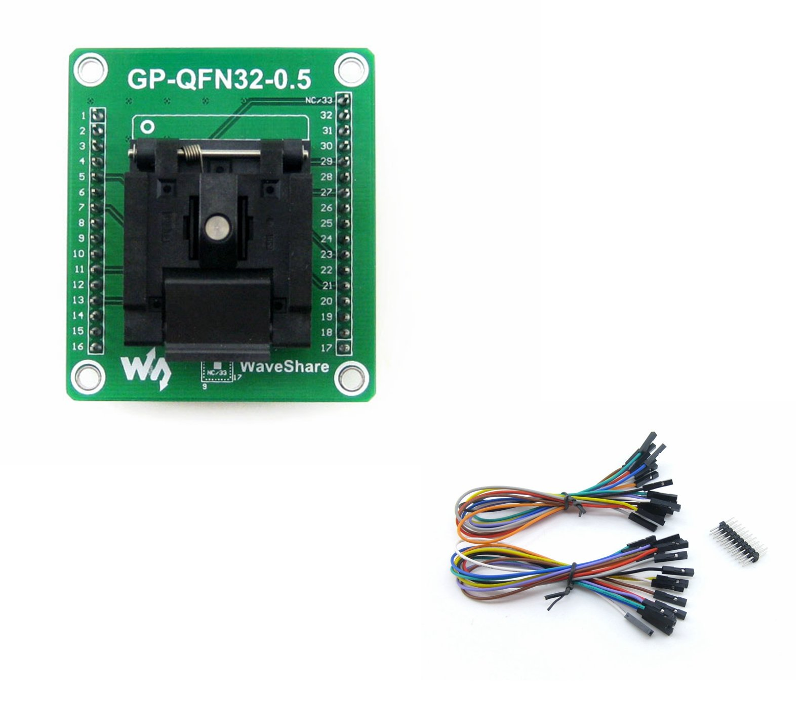 Programmer Adapter Pitch 0.5mm GP-QFN32-0.5-A @CQRobot, Enplas IC Test Socket and Programming Adapter for QFN32 MLF32 Package.