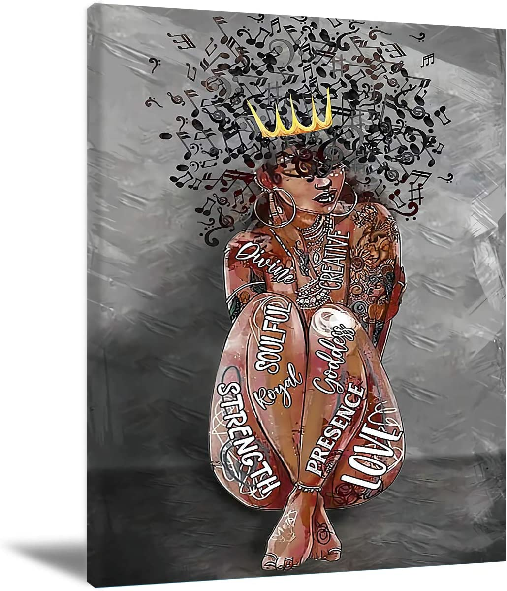 Black Queen Wall Art Africa America Poster Black Woman Love Music Canvas Wall Art Abstract Contemporary Canvas Prints Painting Home Decor For Bedroom Living Room 16X24 Inch No Frame