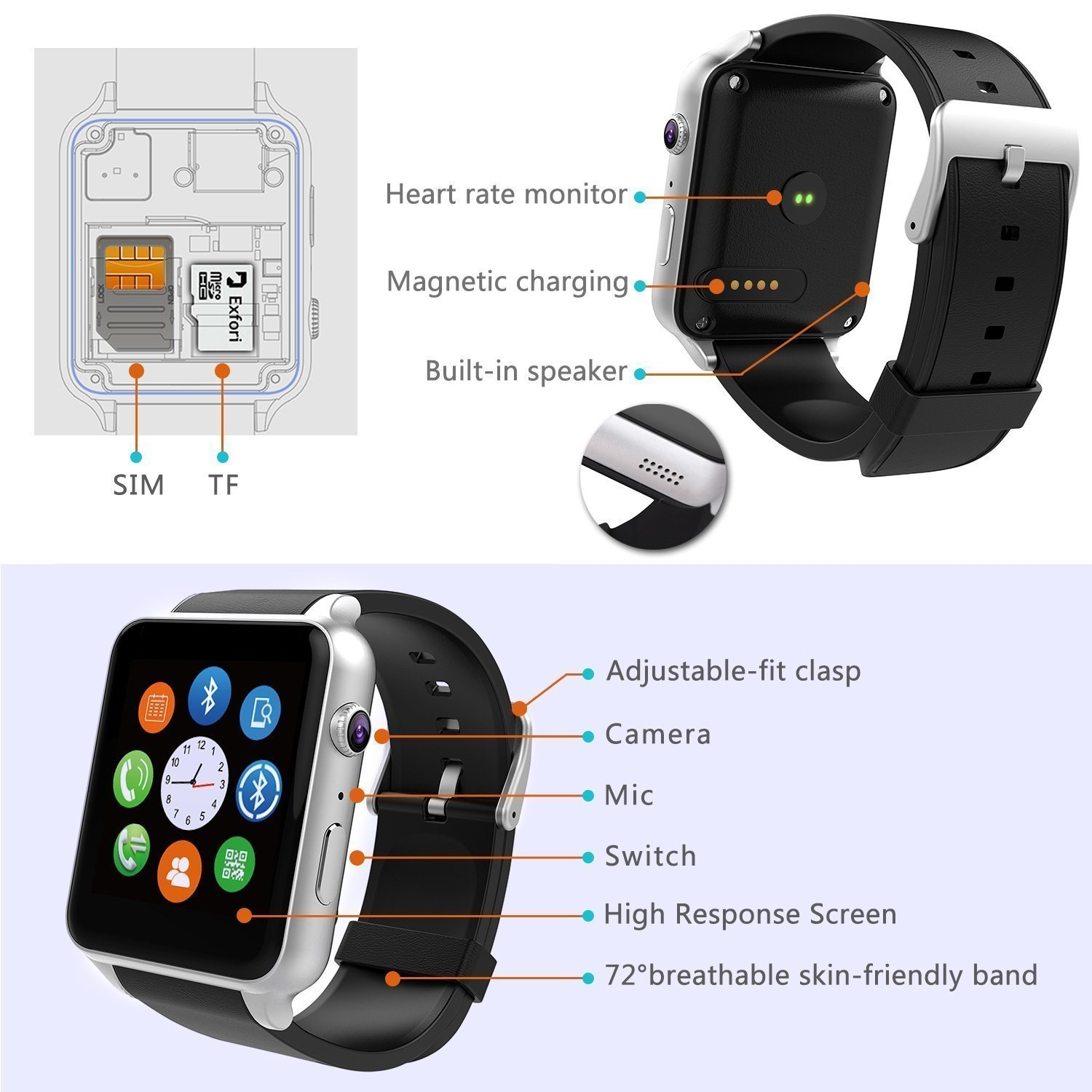 android watches with tf camera support pedometer and for sim card bluetooth mobile ios touch smartphones dp smart yongkaida screen phone watch compatible