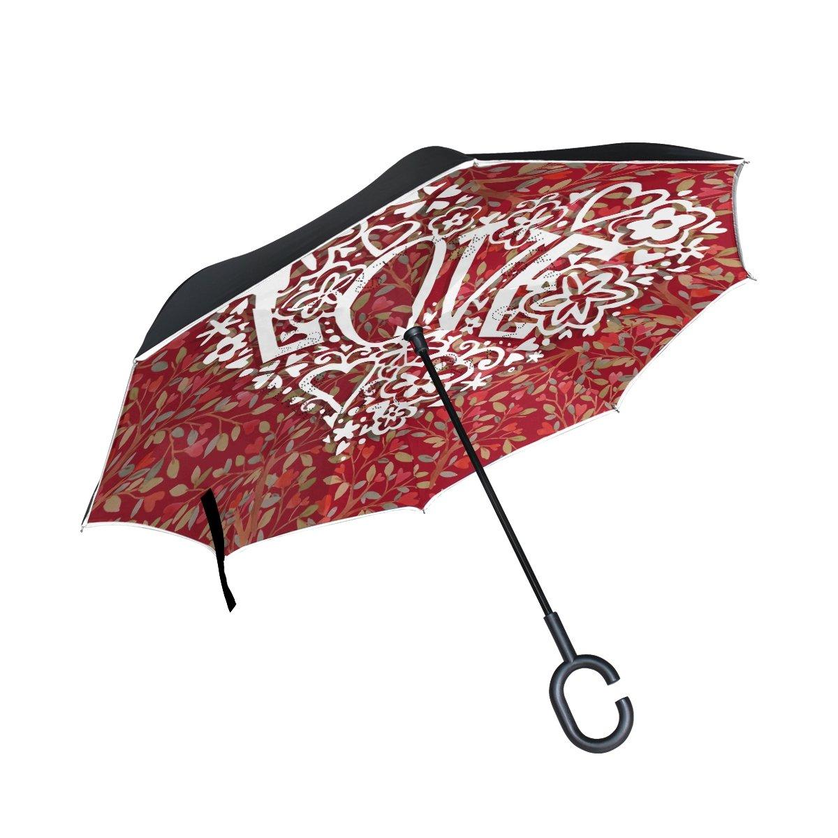 AlazaフローラルレースラブハートInverted傘二層防風Reverse折り畳み傘for Car with c-shapeハンドル   B076BBSYT2