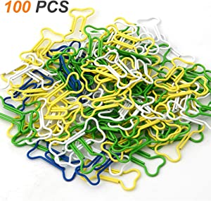Coolrunner 100pcs Bone Shape Multicolor Metal Paper Clips (Bone-Shaped 100 PCS)