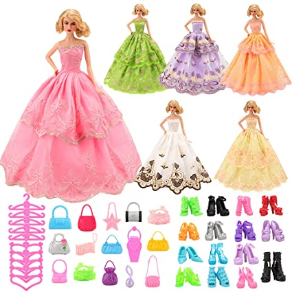 0a2f26b20a2 Image Unavailable. Image not available for. Color  Barwa Doll Clothes 6 PCS  Fashion Wedding Party Ball Gown ...