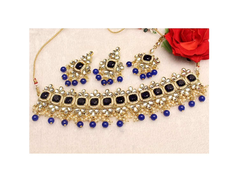 Indian Pakistani Sky Blue Kundan Choker Necklace Set Bollywood Bridal Jewelry