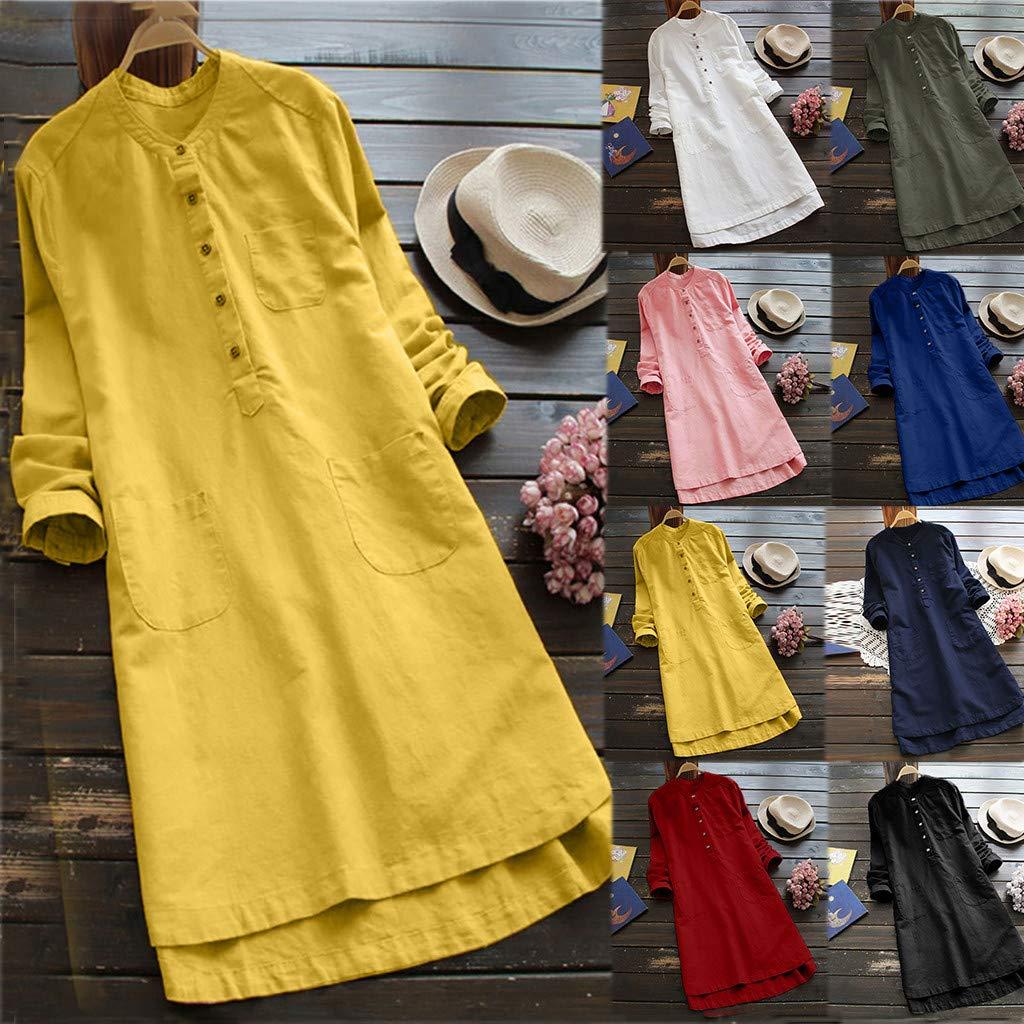 LUCA Womens Vintage Blouse Casual Long Shirt Top T-Shirts Plus Size