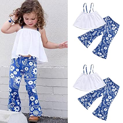 Franterd 2Pcs Baby Girls Boys Strap Off Shoulder Tops+Floral Bell Flares  Pants Set Vintage e9656aac0