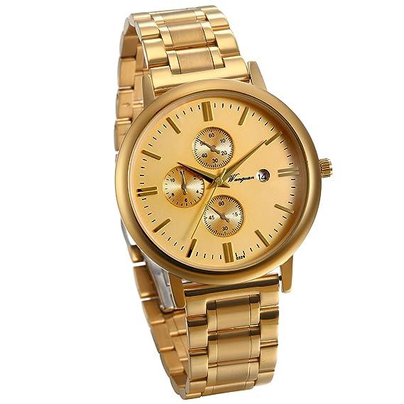 JewelryWe Reloj Dorado para Hombre, Esfera Grande Con Calendario, Correa de Acero Inoxidable Color Oro Reloj de Caballero 3 Subesferas Decorativas: ...