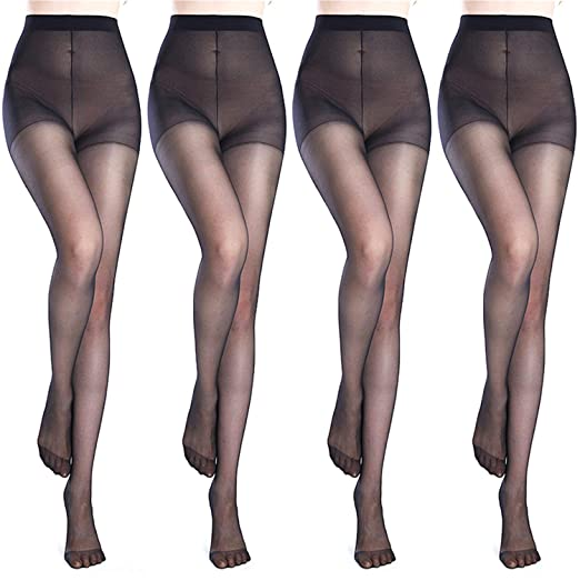 e94cf79a9 Image Unavailable. Image not available for. Color  4PCS Women s 40 Den  Silky Sheer Reinforced T Crotch Pantyhose Tights