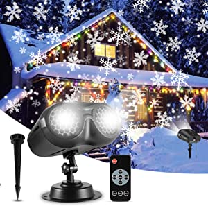 ALOVECO Christmas Snowflake Projector Lights Outdoor, Moving LED Snowfall Projection Lamp with Remote, Waterproof Spotlight Landscape Decorative Lighting for Xmas Holiday Wedding Party Garden Gift
