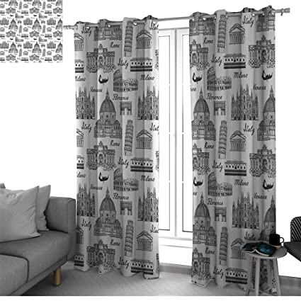 Amazoncom City Thermal Insulated Blackout Curtains Monochrome