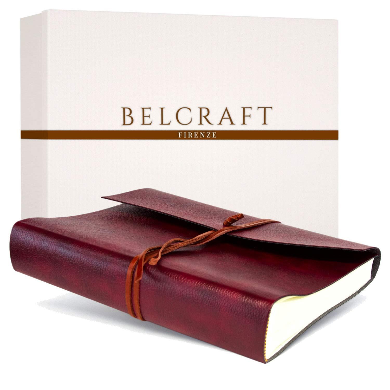 Tivoli Fotoalbum aus recyceltem Leder, Handgearbeitet in klassischem italienischem Stil, Geschenkschachtel inklusive, A4 (23x30 cm) Rot