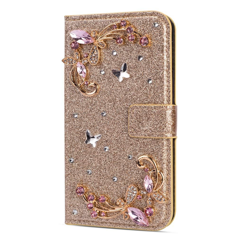 Amocase Glitter Case with 2 in 1 Stylus for Samsung Galaxy A70,Luxury Diamond 3D Crystal Butterfly Flower Magnetic Wallet Leather Stand Case for Samsung Galaxy A70 - Gold by Amocase