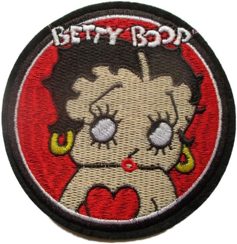 Patch Betty Boop Rond sur Fond Rouge 9.5 cm /écusson Veste Blouson hotrodspirit