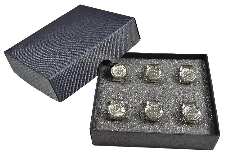 6 en Caja de Presentaci/ón Olata Clips de Botones para Tirantes de Cuero