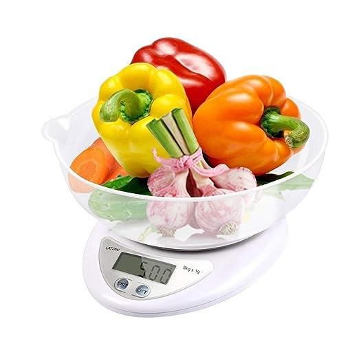 LATOW Báscula Digital para Cocina, Báscula de Alimentos Multifuncional, Precisa y Escala para Hornear, Alta Precisión con Tazón, función de Auto-Off y ...