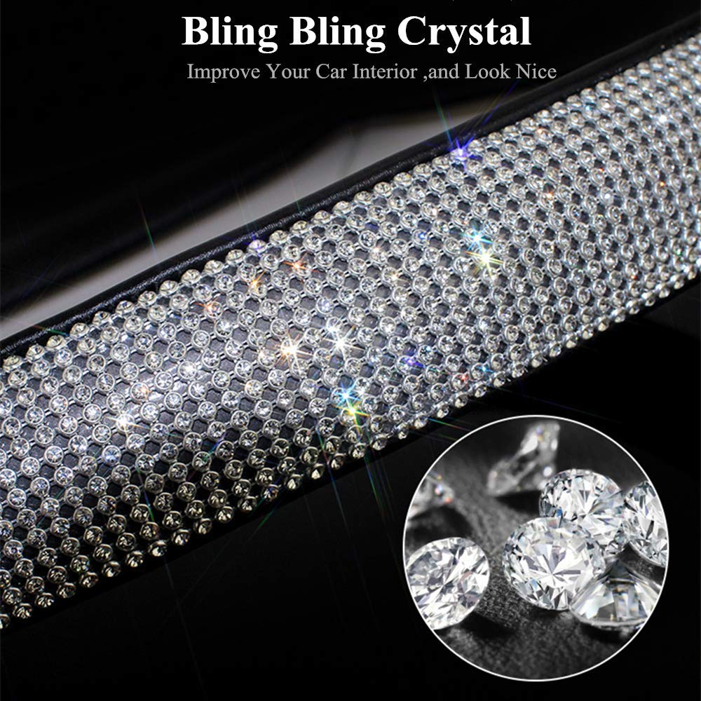 Volwco 2 Packs Bling Bling Seatbelt Cover-Luster Diamond Rhinestone Crystals Seatbelt Shoulder Pads Car Bling Bling Decor Accessories for Women,Universal Fit