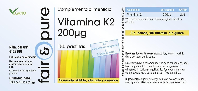 Vitamina K2 200 mcg - con menaquinona MK7 - 180 comprimidos - artículo vegano: Amazon.es: Salud y cuidado personal