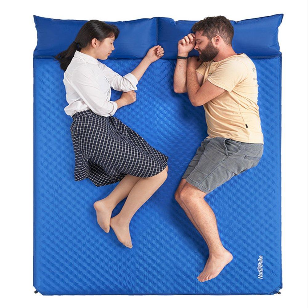 Naturehikeブルーダブル枕自動インフレータブルマットエッグスロットエッグネストマットアウトドアテントマット B07DLNNCDS
