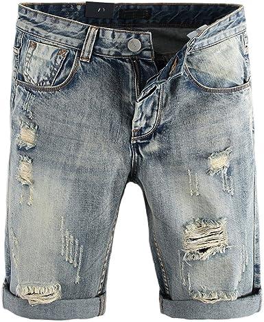 Shunht Mens Fashion Slim Fit Broken Hole Denim Shorts Jeans Shorts