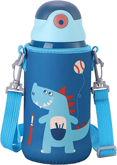 UPSTYLE Stainless Steel Water Bottle with Straw, 20 oz Insulated Thermos Kids, Vacuum 5 Walled Thermal Tumbler, Animals Flask Travel Mug for School Lunch (Dinosaur)