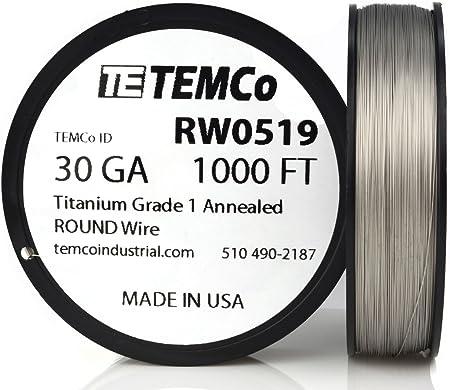 TEMCo Titanium Wire 34 Gauge 250 FT Surgical Grade 1 Resistance AWG ga