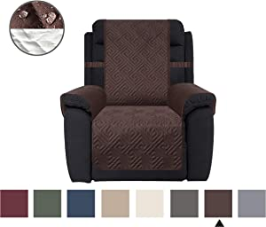 CHHKON DEARTOWN Sofa Cover with Anti-Skip Dog Paw Print 100% Waterproof Quilted Furniture Protector Sofa Slipcover for Children, Pets for Leather Couch (Chocolate, Recliner)