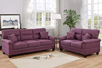 Superb Amazon Com 2Pcs Modern Warm Purple Plush Microfiber Sofa Beatyapartments Chair Design Images Beatyapartmentscom
