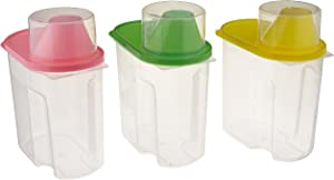 Basicwise Small BPA -Free Plastic Food Saver, Kitchen Food Cereal Storage Containers with Graduated Cap, Set of 3, Green, Pink, and Yellow (QI003216.3S)