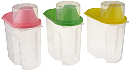 Genial Basicwise Small BPA  Free Plastic Food Saver, Kitchen Food Cereal Storage  Containers With Graduated